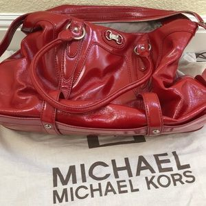 Michael Kors Red Patent Large Satchel